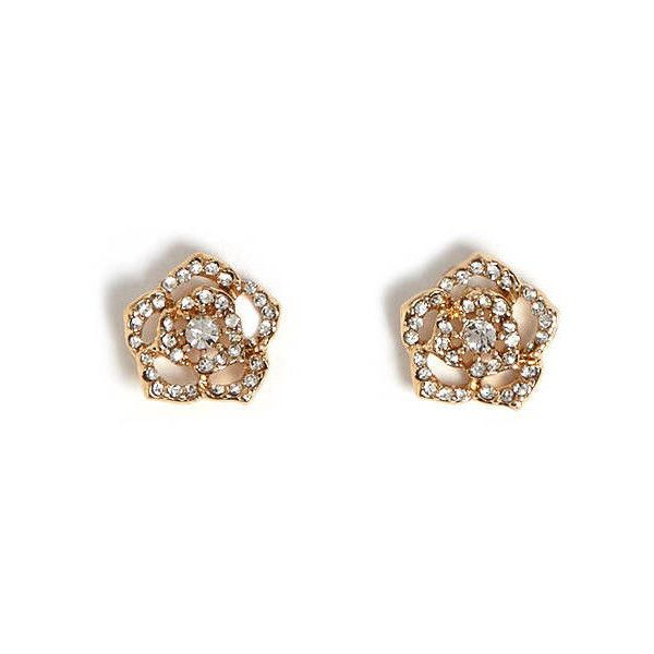 Forever21 Rhinestone Flower Studs ($2.90) ❤ liked on Polyvore featuring jewelry, earrings, forever 21 jewelry, forever 21, rhinestone stud earrings, rhinestone jewelry and flower stud earrings