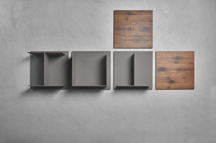 Sistema di mensole di design, a vista o chiuse, per arredare le pareti con stile. Composto da pannelli in fibra di legno e laminato garantisce infinite soluzioni.