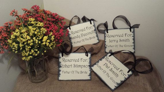 Four Reserved Seating Wedding Signs Mother by CraftyWitchesDecor
