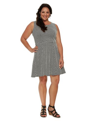 This sleeveless skater stlye dress has a flattering all-over graphic print.  #NewandNow