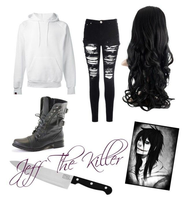 """""""Jeff The Killer outfit """" by mikkibear09 on Polyvore featuring SWEAR, Glamorous and Chicago Cutlery"""