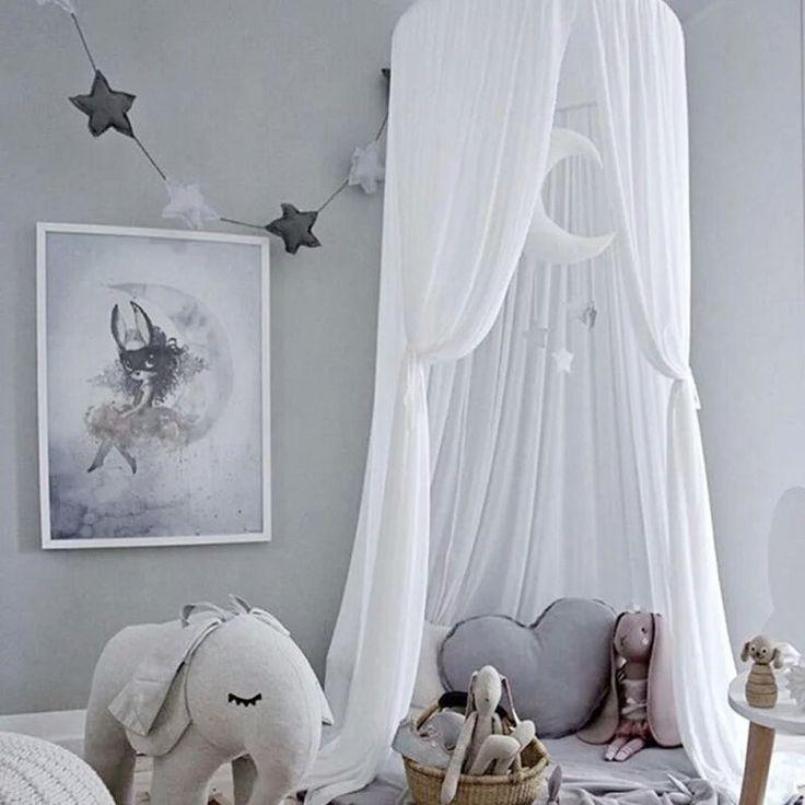 Chiffon Licht komfortable Atmungsaktive Sommer Moskitonetz Baldachin Für Baby Heimtextilien Für Kinder Prinzessin Raumdekoration   – HomeDecor