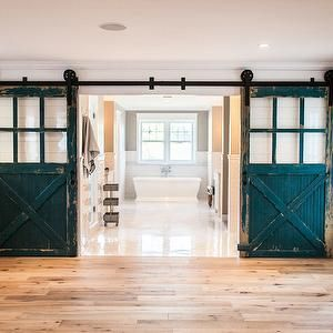 Peacock blue barn doors