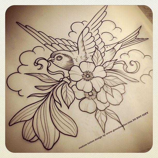 Tattoo inspiration... magnolia blossom bird by guen douglas