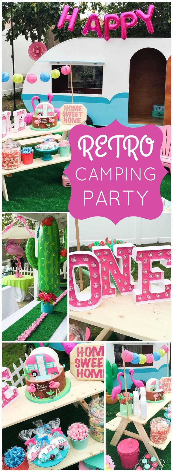 Love this retro camper trailer party done in bright colors! See more party ideas at CatchMyParty.com!