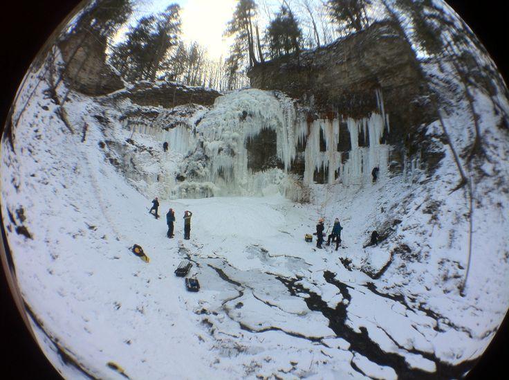 Tiffany Falls ice climbers December 31st iPhone image with Ölloclip fisheye