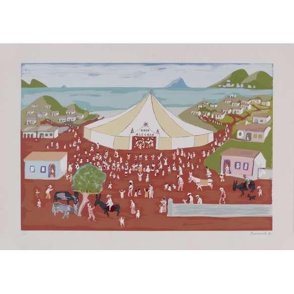 Fúlvio Pennacchi<br>Circo Alegria – 50 x 69,5 cm <br>Gravura – Ass. CID e Dat. 1990 - Sem  Moldura