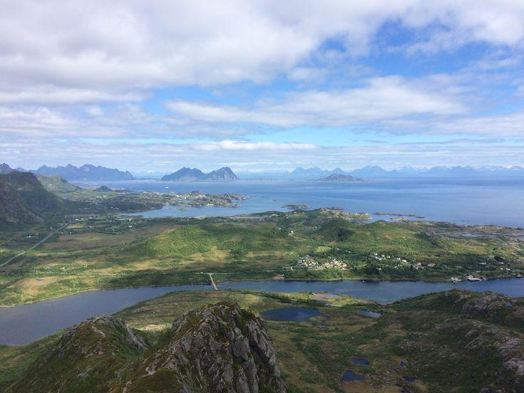 Glomtinden. Lofoten. Norway. Hiking. On the top. Views. Kabelvåg. Svolvaer