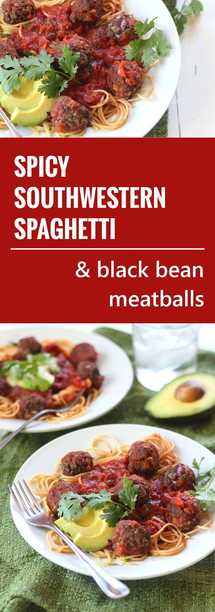 Noodles are dressed in spicy tomato sauce and served with avocado and ...