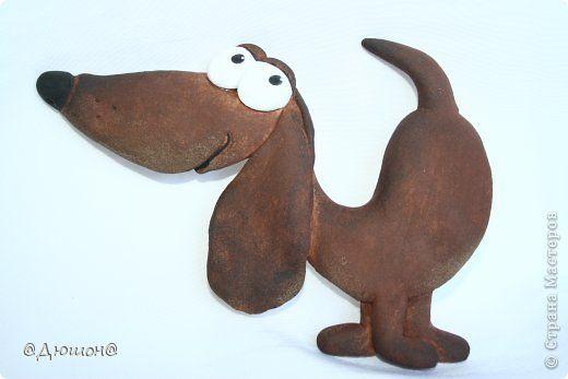 Картина панно рисунок Поделка изделие Лепка Забавные собачки Тесто соленое фото 1