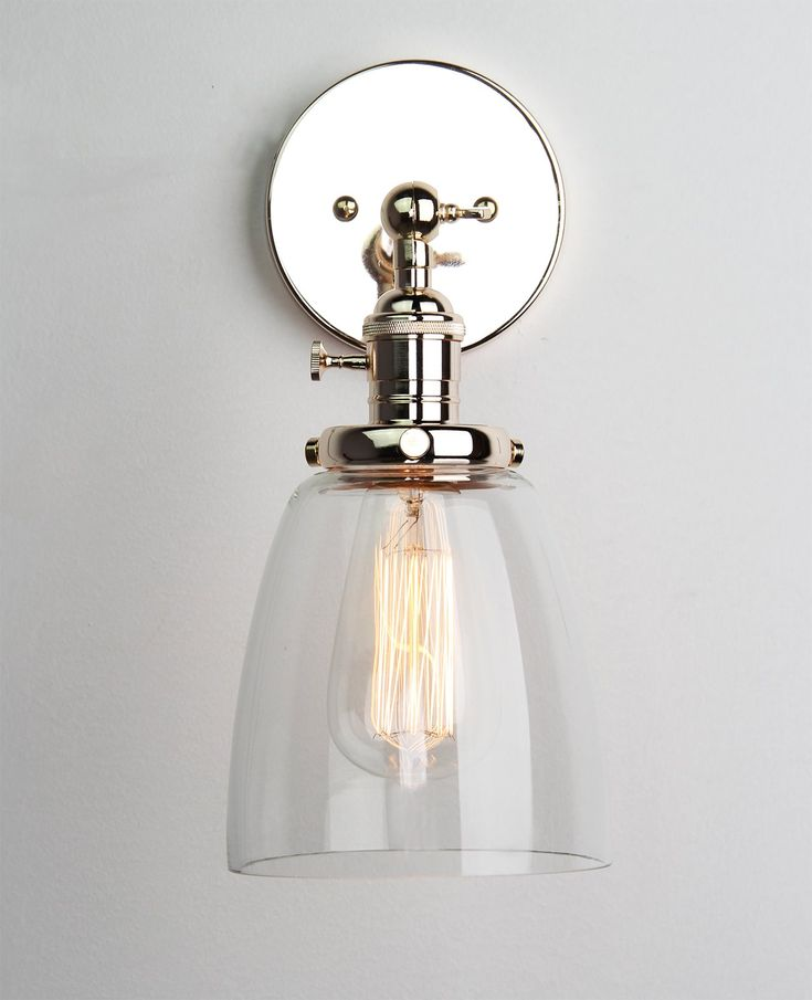 Chrome Wall Sconces With Shade : Permo Industrial Edison Antique Single Sconce With Oval Cone Clear Glass Shade 1-light Wall ...