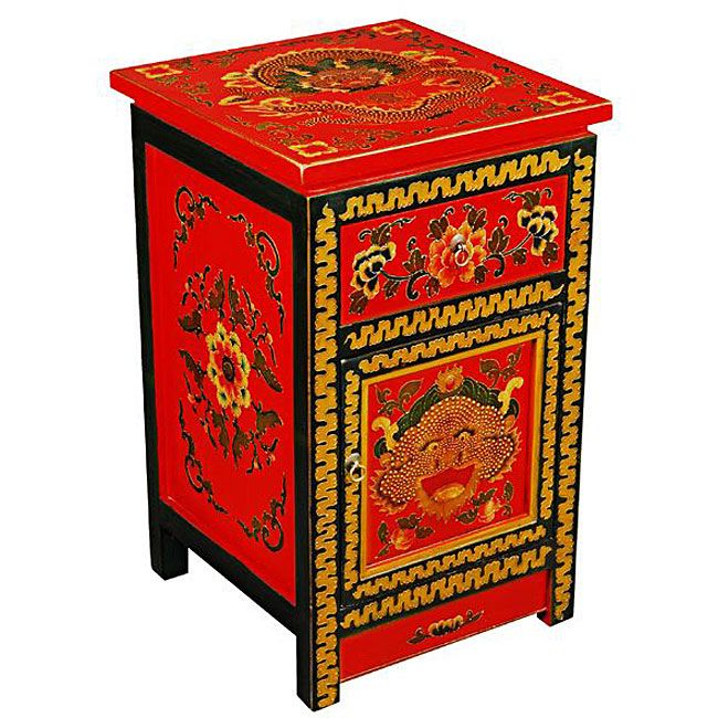 Tibetan Red Hand Painted Dragonu0027s End Table
