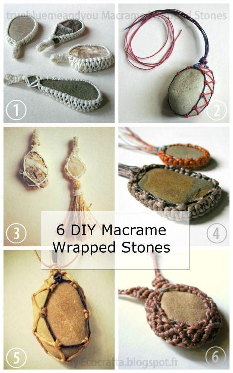 DIY 6 Macrame Wrapped Stone Tutorials from Ecocrafta.I've posted... | TrueBlueMeAndYou: DIYs for Creative People | Bloglovin'