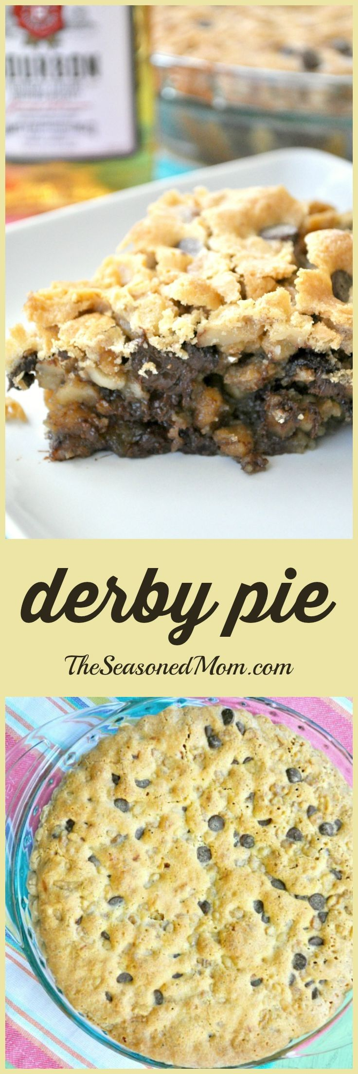 A thick, gooey chocolate chip cookie meets a warm buttery pie that's spiked with just the right amount of bourbon for a heavenly and decadent Southern dessert! Perfect for Derby Day parties!