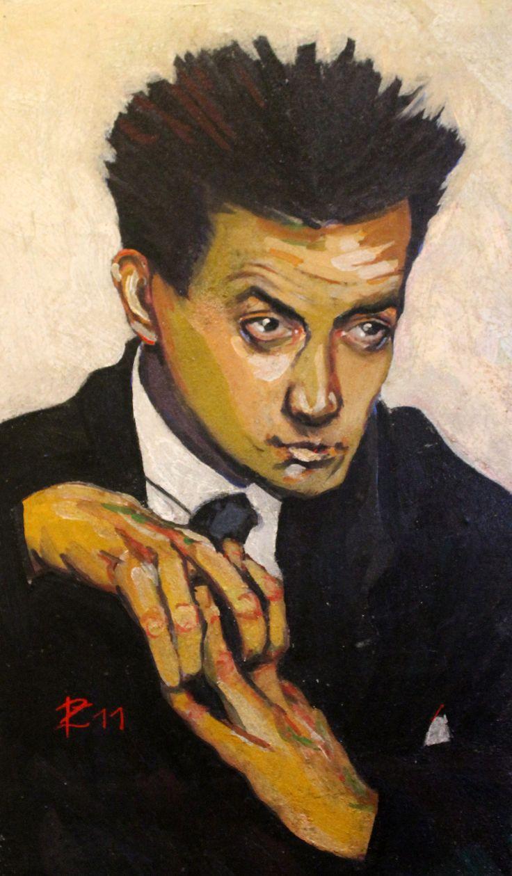 Egon Schiele - Ritratto ad affresco realizzato da www.robertozedda.it