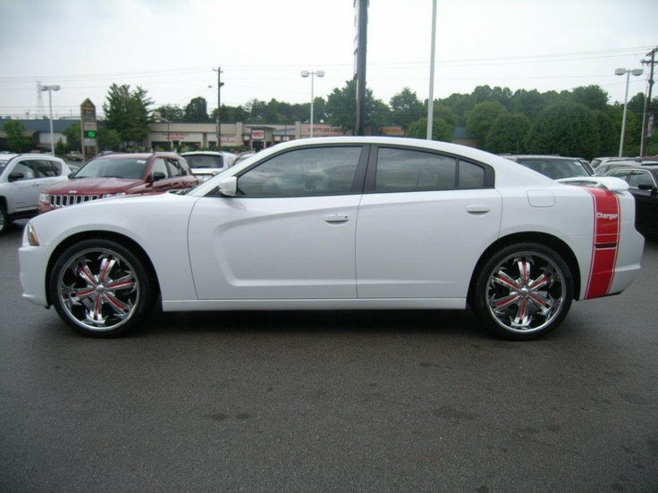 Red Dodge Charger >> Cumberland Customs 2012 Dodge Charger White with Red Stripes, Side View | 2012 Dodge Charger ...