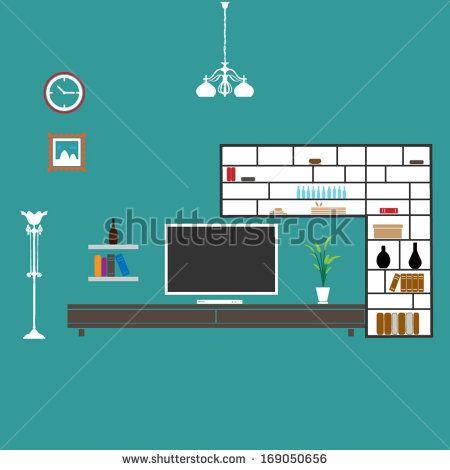 Living room interior design - vector format