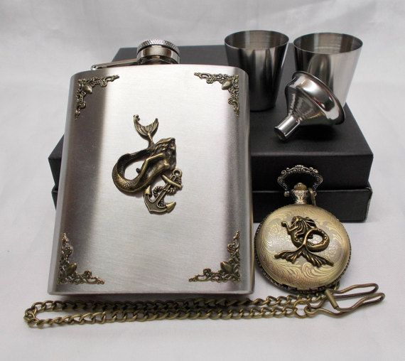 Mermaid with Anchor  Flask Set with Matching by mythicaljewelry