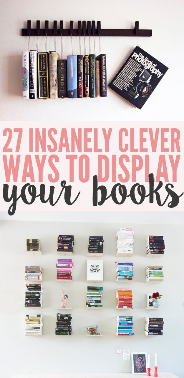 27 Insanely Clever Ways To Display Your Books http://www.buzzfeed.com/chelseypippin/bookshelf-porn?crlt.pid=camp.zYFMuinKn99p