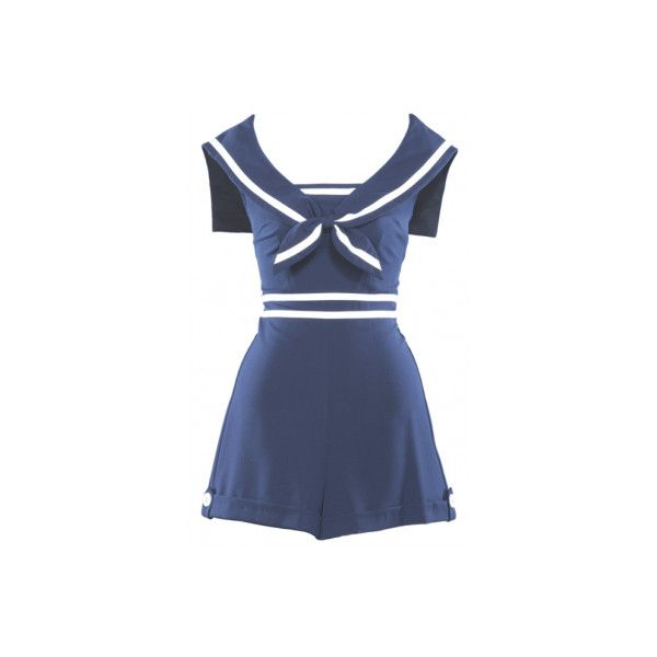 Alternative Swimsuit in Navy & White, Sailor Collar - Stop Staring!... (135 PAB) ❤ liked on Polyvore featuring dresses, playsuits, rompers, swimsuits and stop staring!