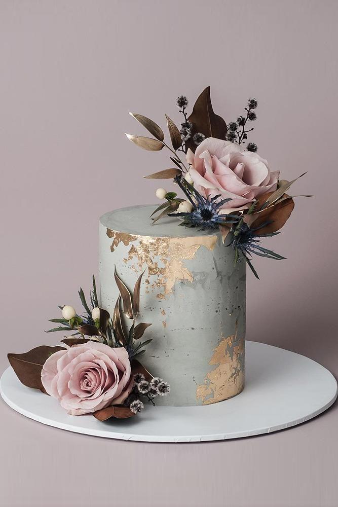 Hochzeitstorte Designer klein grau mit Goldfolieneffekt erröten rosa Rosen mit …   – amazing wedding cake