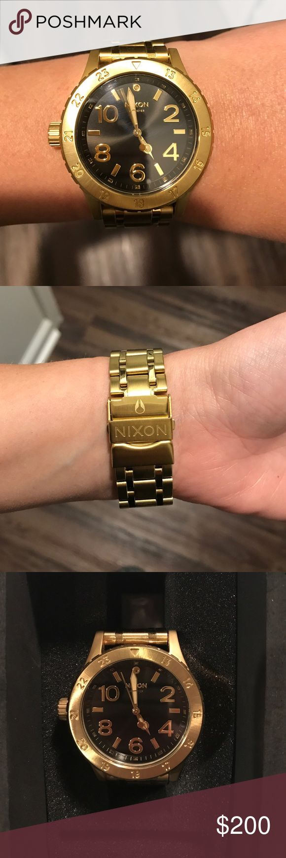 Black & Gold Nixon Women's Watch + Black & Gold + Comes with original box, extra links and price tag + Worn only a few times, no scratches, like new condition  + Super nice / heavy feeling + Smoke free and pet free home 🏡   ✨ If you would like any additional photos or if you have any questions... please let me know!  ✨ No trades but I will consider all fair offers! Nixon Accessories Watches