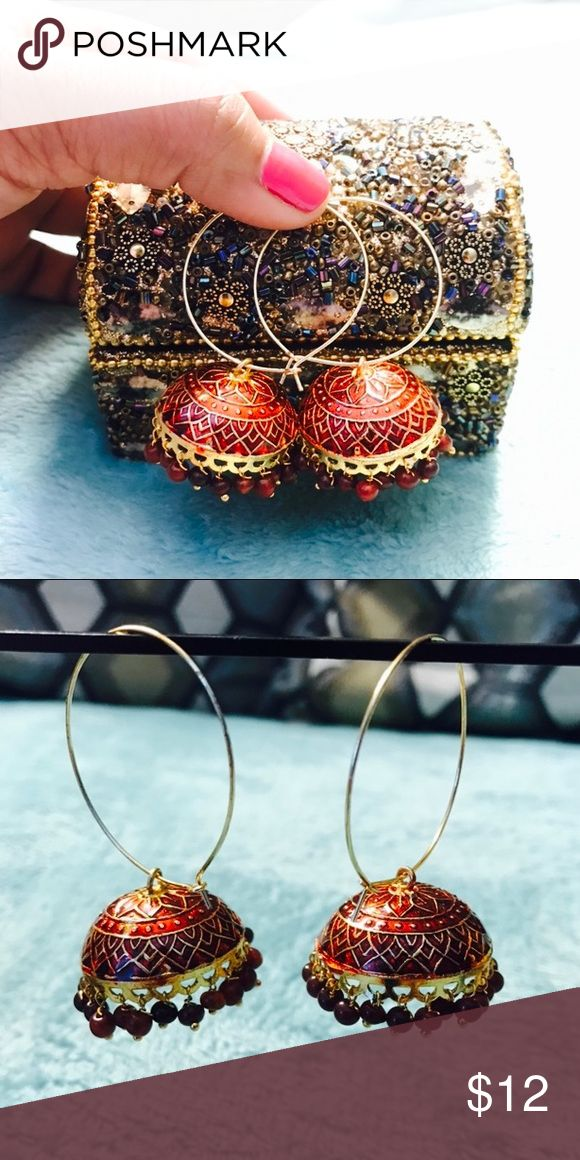 Indian red gold Jhumkha❤️💕❤️ Brand new!❤️💕❤️ I love my all jewelry pieces ❤️💕 I have hundreds of it! So I am selling this! It is perfect for party, wedding, prom❤️💕❤️ boutique Jewelry Earrings