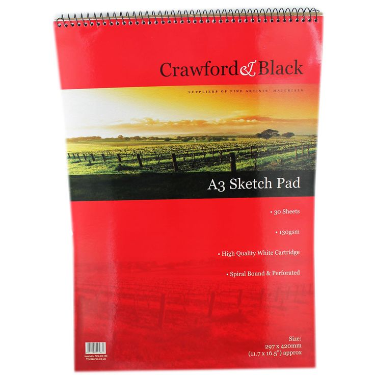 Crawford amp black a3 sketch pad pack of 12 sketchpads at the