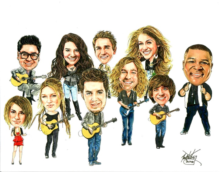 This is an illustration I did a couple of years ago of the top 10 finalists from American Idol.  The portrait caricatures were done 11x14 in size individually, and then combined into the group shot shown.