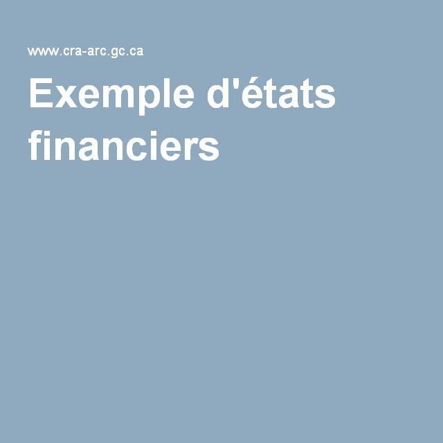 Exemple d'états financiers