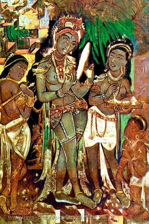 Ajanta caves paintings google search black india for Ajanta mural painting