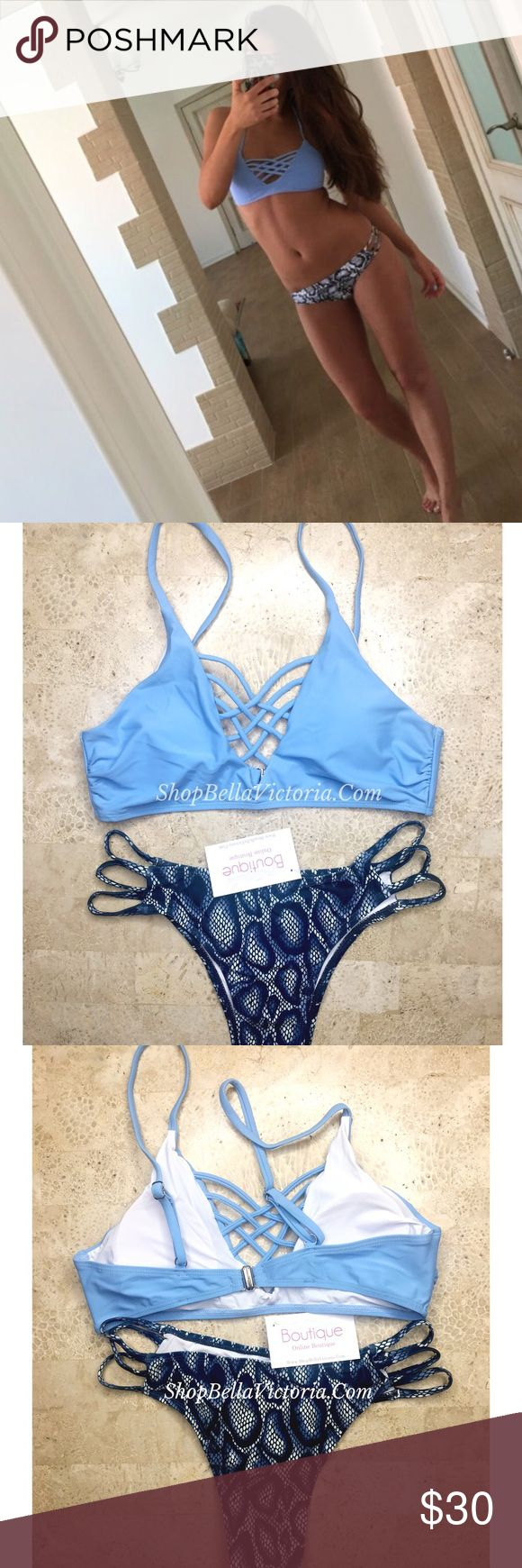 Dianey- Blue Animal Print Strappy Bikini Set New ! Dianey- Blue Animal Print Strappy Bikini Set Light Blue Top Comes Padded Adjustable Straps Clips From Back Cheeky Strappy Bottom Colors Available: Blue Size Available: Medium Bundle to save Follow & tag: Ig: shopBellaVictoria Fb: Bella Victoria BellaVictoriaBoutique Swim Bikinis