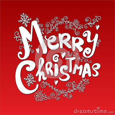 Vector image of christmas card with a christmas text in the middle