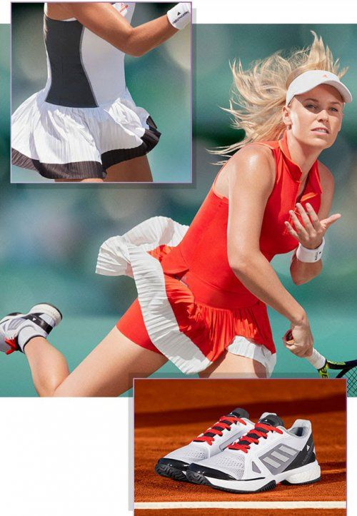 Red beauty: Caroline Wozniacki's Adidas Stella polo look for the 2017 French Open #aSMC