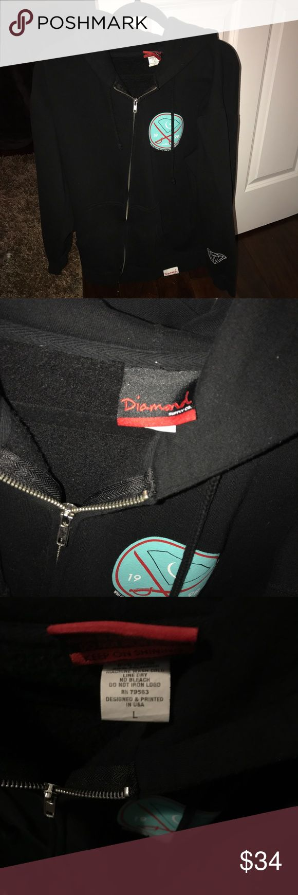 Diamond Supply CO. sweatshirt Diamond Supply Company zip-up hoodie! Only worn a handful of times and was perfect for the winter weather for layering. It's a heavier jacket so it will keep you warm but also doesn't make you burn up inside! Diamond Supply Co. Jackets & Coats