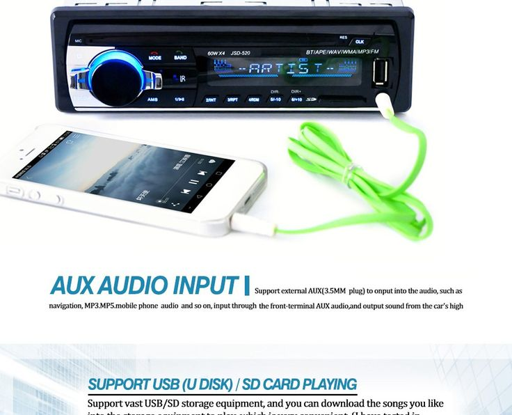 Autoradio Car Radio 12V Bluetooth V2.0 JSD-520 Stereo In-dash 1 Din FM Aux Input