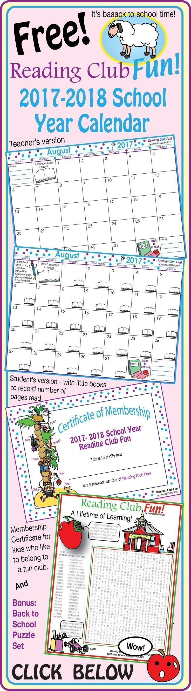 FREE - 2017-2018 Mega Bundle SCHOOL YEAR CALENDAR (Back to School) - Enjoy 38 pages of back-to-school goodness! Includes: Reading Club Fun Membership Certificate; 2017-2018 School Year Calendar - Teacher Edition; 2017-2018 School Year Calendar - Student E
