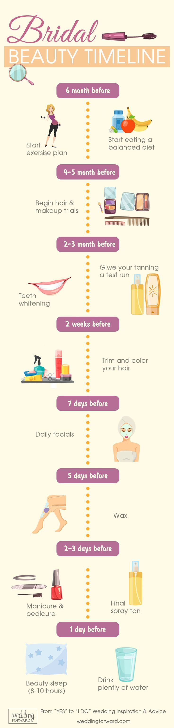 Bridal Beauty Timeline From Engagement To Wedding Day ❤️ See more: http://www.weddingforward.com/bridal-beauty-timeline-engagement-wedding-day/ #weddings