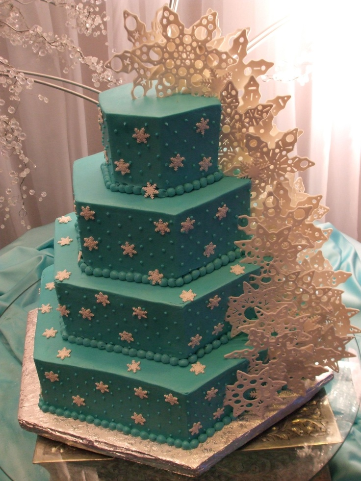 "Winter Wonderland Wedding Cake - 18"" 14"" 10"" and 6"" hexagon shaped cakes cut from square cake pans. All are yellow cakes soaked in a kirshe simple syrup and filled with a homemade rasperry filling. The cakes are iced in a tiffany blue cream cheese icing. The snow flakes are cut from gumpaste using large cookie cutters and the accents were cut out using anything I could find around the bakery."