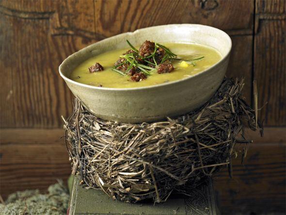 Maronen-Kartoffel-Suppe mit Rosmarin-Croûtons: Röstfrisch vom Weihnachtsmarkt – so schmecken Maronen herrlich. Die nussig-feinen Esskastanien passen zu herzhaften und süßen Gerichten ebenso gut.