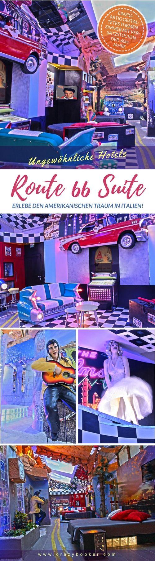 Route 66 Themenzimmer in Italien   Dieses luxuriöse Hotelzimmer in der Lombardei versetzt seine Gäste ins amerikanische Jahrzehnt der 60er Jahre und erzählt den Mythos der Route 66   Gestaltet wie eine Straße und mit vielen Souvenirs aus der Kult-Ära wie originaler Muxikbox, lebensgroßen Statuen von Elvis Presley & Marilyn Monroe und natürlich Vintage Auto-Komponenten ist dieses nostalgische Liebesnest liebevoll dekoriert   Jetzt Website besuchen oder Pinnwand folgen! #route66 #hotel #elvis
