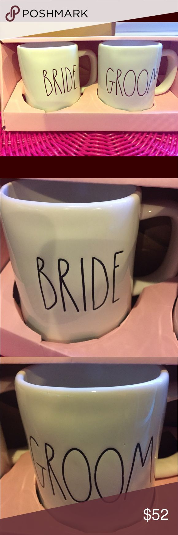 Rae Dunn Bride Groom Mugs Boxed Set Big Letter Rae Dunn Boxed Set Bride Groom Big letter mugs Set of 2 mugs  New  Perfect for shower or anniversary wedding present  Share your Rae Dunn with your guy Will bundle    Rae Dunn clay  Wedding Teacher Gift Anniversary Rae Dunn Other