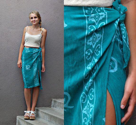 Vintage Batik Print Rayon Short Sarong Wrap by anthropolotique, $30.00