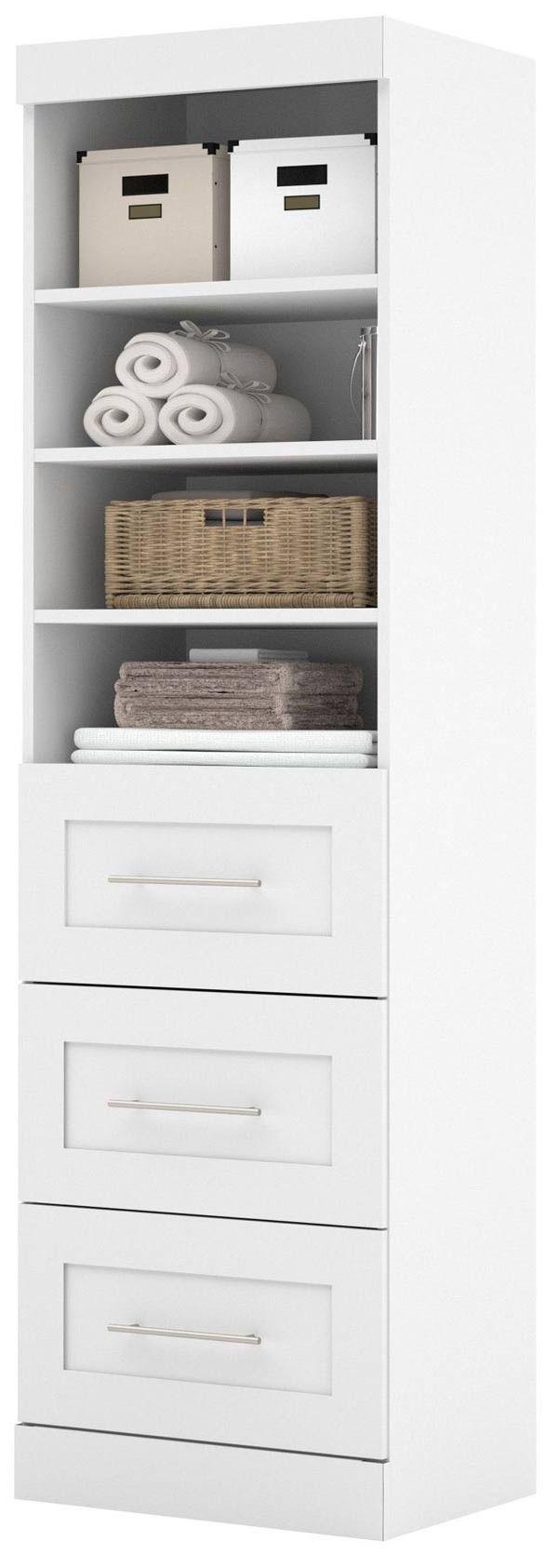 """Bestar - 26871 Pure White 25"""" 3 Drawer Storage Unit - 26871-17"""