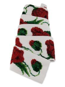 """Beadede belt with traditional """"Poppies"""" pattern"""
