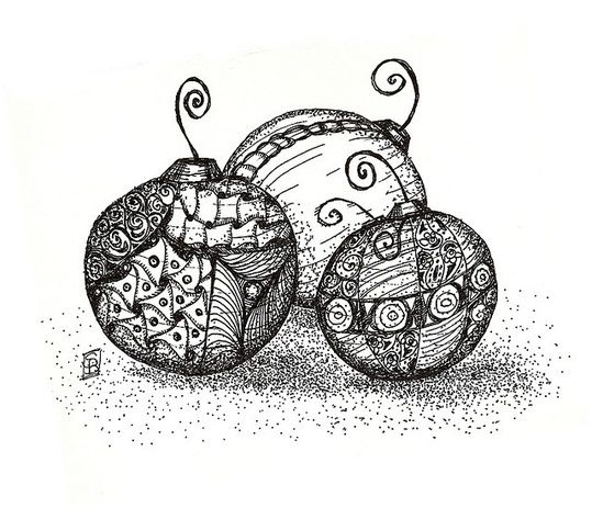 Zentangle Christmas Bulbs................ideas abound ...