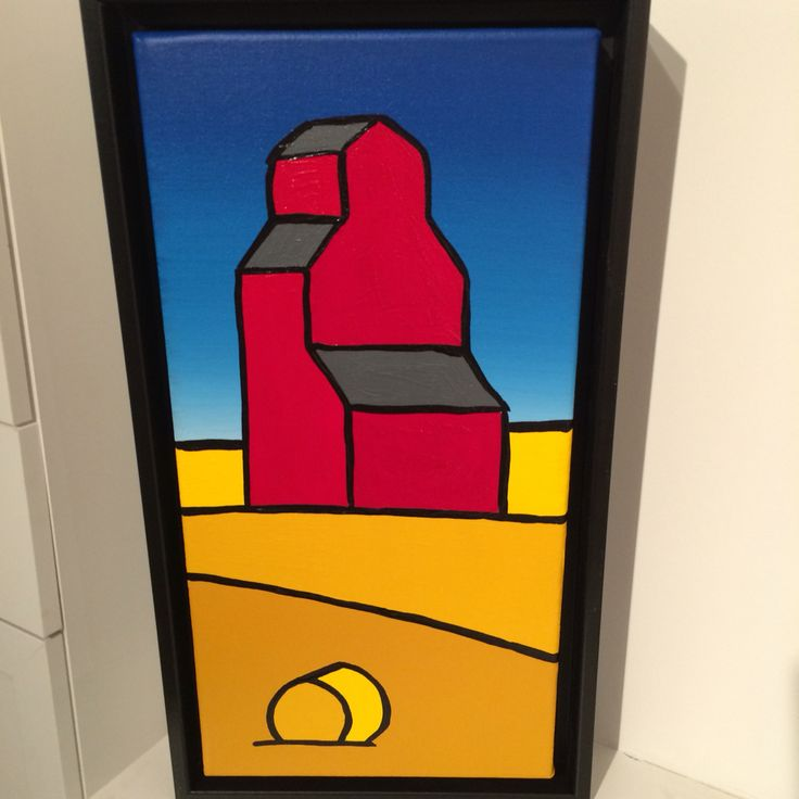 Artist Jason Carter's Grain Elevator painting seen in Art Gallery in Canmore Alberta