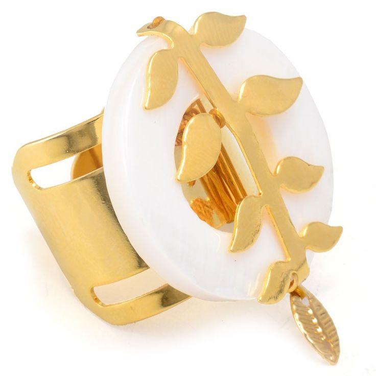 Anel Dourado Galho De Folhas Com Madrepérola - Tinna