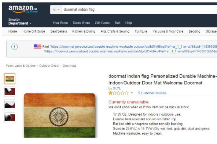 Un tapis sur lequel le drapeau indien est reproduit, et qui était offert sur le site web canadien du géant Amazon, a suscité l'ire de la diaspora indienne du Canada.