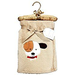 Best Puppy Plush Embroidered Newborn Baby's First Tan Blanket Custom Personalized Special Easter Basket Filler Gift Idea Boy Girl Child Twins